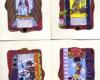 BEATLES tarot cards , 4 greeting cards, blank inside, The Beatles, rock and roll, tarot cards, note cards, stationery, music,Beatles,sequins