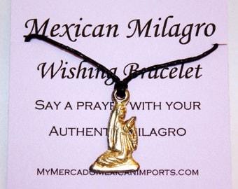 Mexican Prayer Bracelet Milagro Wish Charm Waxed Linen Cord Wishing Jewelry