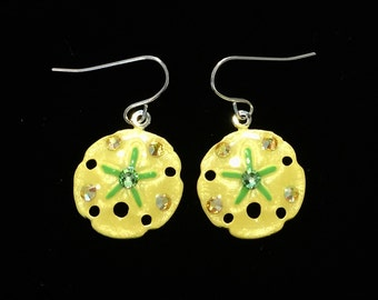 Sanddollar Earrings Handpainted Pearlescent Yellow and Green