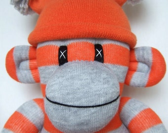 Orange and grey striped Sock Monkey with pom pom hat (made to order)