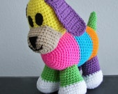 TO ORDER Crochet Multicolor Puppy Stuffed Animal Dog Cute Happy USA Made