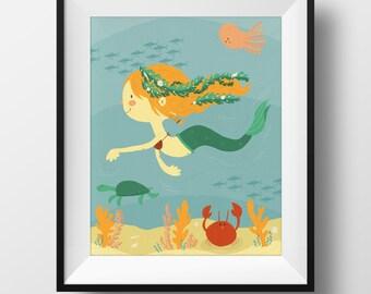 Fine Art Nursery Print - Mermaid Illustration