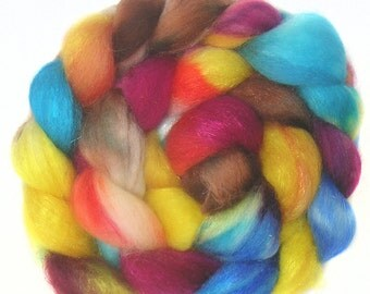 SPARKLY SUPERWASH BFL roving top handdyed wool spinning fiber 3.5 oz