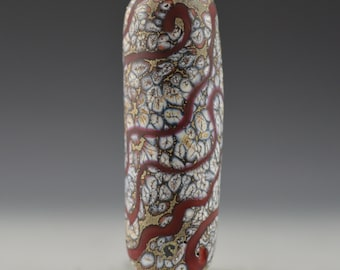 Red and Ivory Organic Tube Focal Bead