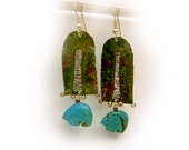 Dangle earrings in solid sterling silver with   turquoise spirit bears One of a kind by Cathleen McLain