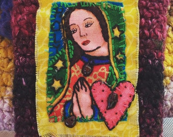 Virgin de Guadelupe Embroidered Fabric Brooch/ Pin/ Badge- Hand Stitched and Embellished with Garnet Chips
