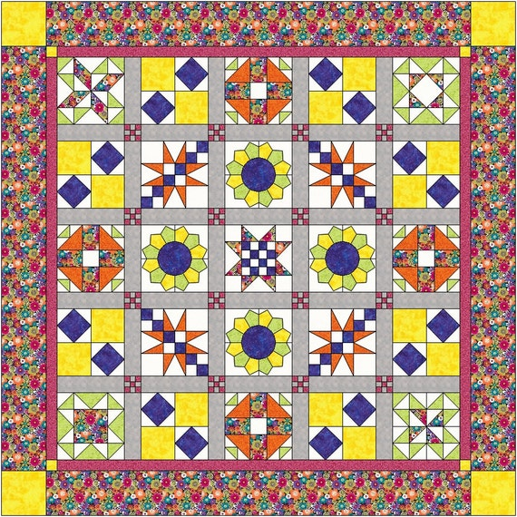Quilt Pattern for beginners Queen size sampler quilt