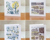 Pack of all four greetings cards - Farm Yarns and Cover Story designs