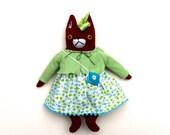 Summer Fox Girl Doll wool plush softie