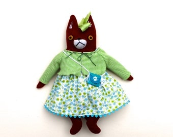 Summer Fox Girl Doll wool plush softie