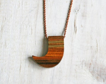 Wooden Horn Necklace / Vintage with Gold Inlay / GIft / Brass