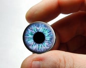Glass Eyes - Turquoise Lavender Human Zombie Doll Eyes Handmade Glass Cabochons - Pair or Single - You Choose Size