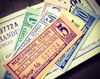 15pcs MINING TOWN TICKETS Antique Vintage Paper Ephemera West Virginia