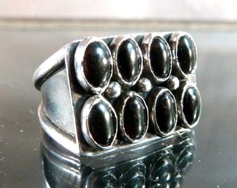 Big Onyx Ring Sterling Silver black Spider Eyes 8 cabochon mens or ladies band size 8