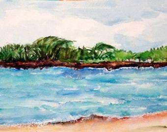 Seascape Aruba watercolors paintings original Beach art, 8 x 20, Malmok Beach, Aruba original watercolor painting, rocky shore