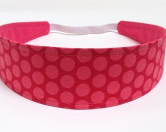 Headband with Reversible Fabric   -  Tangerine & Coral Polka Dot Print -   Headbands for Women  -  MISSY
