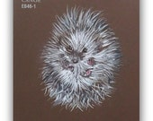 Hedgehog Art Original Paint Chip Watercolor Mixed Media Hedgie Painting Baby Animal Drawing Brown Miniature Artwork Chocolate Brown