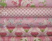 SALE! Chloe Fabric by Tanya Whelan Fabric / PINK Roses, Butterflies, 5 Half Yard Bundle Cotton Quilt Fashion Fabric