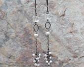QUARTZ and Freshwater PEARL earrings, quartz, bridal earrings, wedding jewelry, sterling silver long earrings, angry hair