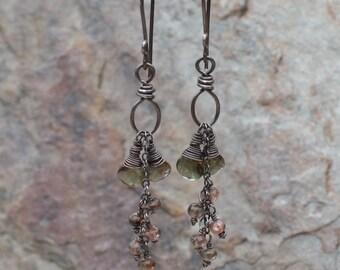 ANDALUSITE earrings, brown gemstone earrings, handmade, AngryHairJewelry