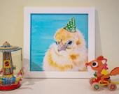 "Chick Nursery Art Print, Chick art, Chick Art Print, Farm Nursery Decor, 12x12"""
