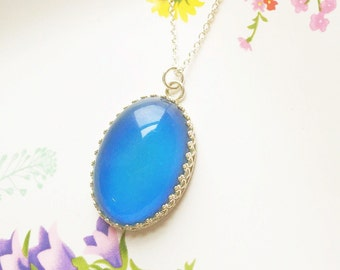 Mood Necklace, Large Sterling Silver with Color Changing Stone