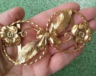 Vintage 1940s Brass Buckle Brass Art Nouveau Flowers Tendrils Bow