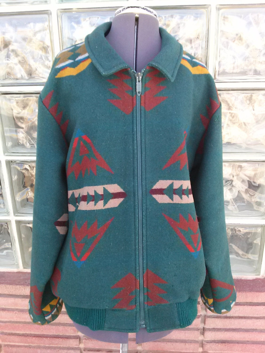 Vintage 1970s Pendleton Jacket Indian Blanket Baseball Bomber