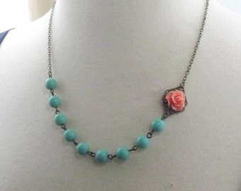 Coral Aqua and Brass Flower Bridesmaids Wedding Necklace