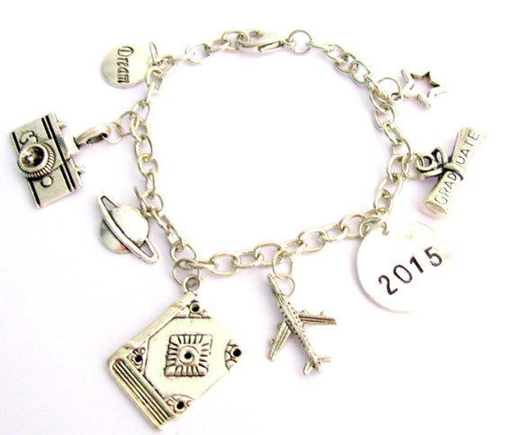 Grad Bracelet 2017 Graduation Bracelet, Graduation Charm Bracelet Inspirational Bracelet Custom Bracelet Free Shipping In USA