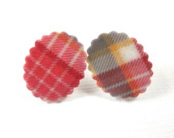 Preppy Plaid Ruffled Oval Earrings - Plastic Posts - Shrink Plastic Earrings