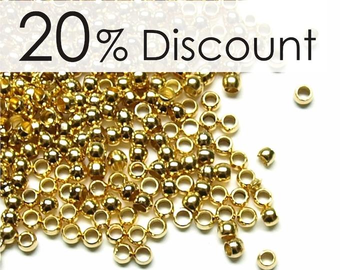 CBBGP-pl20 - Crimp Bead, 2mm, Gold - 500 Pieces (5pk)