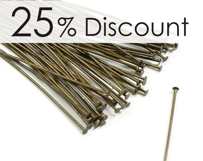 HPBAB-5024 - Head Pin, 2 in/24 ga, Antique Brass - 500 Pieces (10pk)
