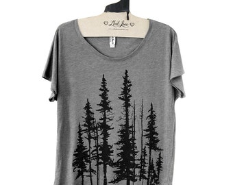 Small -  Tri-Blend Gray Dolman Tee with Evergreen Trees Screen Print