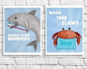 Bathroom Art Set Of 2 Wash Your Hands Brush Your Teeth Prints Ocean Animal Pictures Beach Themed Children's Wall Art Kids Bathroom Decor