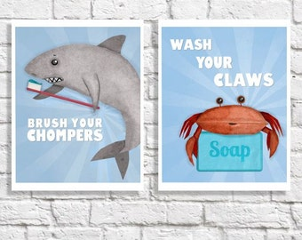 Bathroom Art Set Of 2 Wash Your Hands Brush Your Teeth Prints Ocean Animal Pictures Beach Themed Children's Wall Art Kids Bathroom Decor