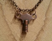 Burnished Copper Key on Burnished Copper Rolo style Chain Necklace