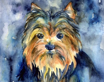 Yorkshire Terrier Dog Painting Watercolor Original Art