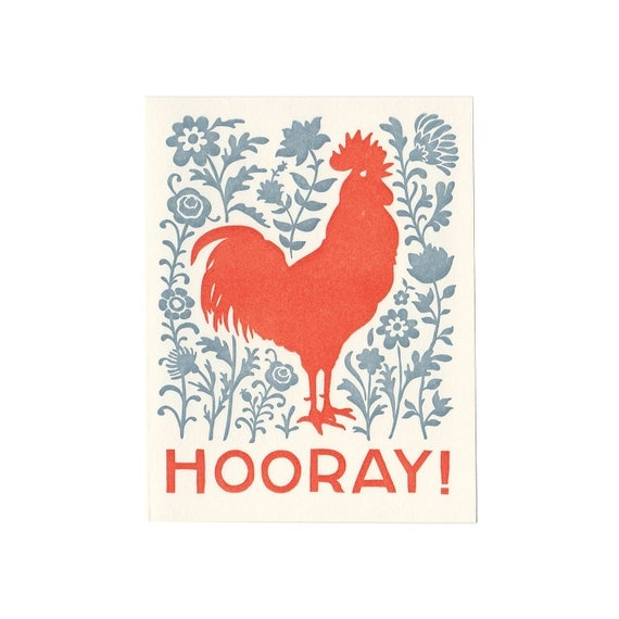 HOORAY rooster letterpress greeting card, blank inside, note card, congratulations, celebration, engagement, new baby, new home, graduation