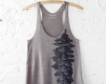 Pinecone Print, Tri-Blend Tank, Bark Color, Screen Print Tank, Camping Shirt, Nature Inspired, Tree Print, Rustic