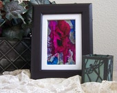 alcohol ink art painting of fuschia flowers with mat and frame is included
