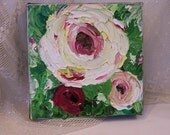 Palette knife oil painting abstract flowers with greenery home decor small painting