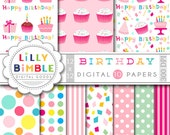 40% off Birthday digital paper with cake, cupcakes, gifts, confetti, polka dots, Happy Birthday scrapbook Instant Download