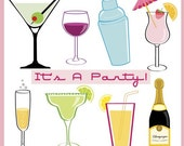 40% off Party Drink Cocktails clipart for new year, parties, champagne bottle, margarita, wine, Instant Download