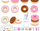 50% off sale Donuts clipart for invitation, cards and scrapbooking, sprinkles, chocolate, milk, birthday party clip art Instant Download