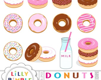 40% off Donuts clipart for invitation, cards and scrapbooking, sprinkles, chocolate, milk, birthday party clip art Instant Download