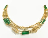 Faux green jadenecklace. Sarah Coventry. Asian chinese export style. 3 necklaces.