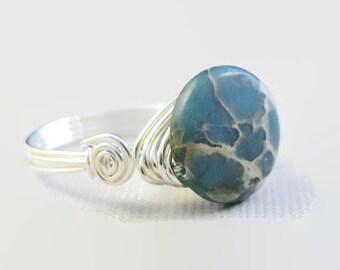 Blue jasper ring. Ocean jasper. Sterling silver. Wire wrapped