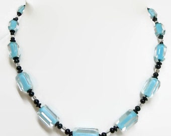 Art Deco necklace. Light blue cane glass, Art glass, blue black. Rare style.