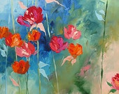 Acrylic Abstract Floral Painting Giclee Print Made To Order Blue Red Roses Print Impressionist Fine Art Print Wall Decor by Linda Monfort